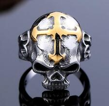 punk 316L Titanium steel  Mens GENUINE Quality ring - Golden cross skull 11#