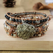 Handmade Rough Raw Pyrite Lava Stone Agate Spacer Beaded Leather Wrap Bracelet