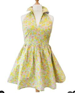 Asos Skater Cotton Dress 12 Yellow Turquoise Floral vintage collar racer v-neck