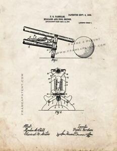 Billiard And Pool Bridge Patent Print Old Look
