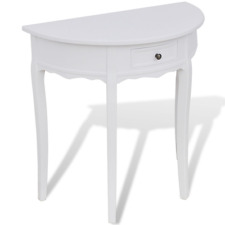 White Half Round Table Side End Hallway Ornaments Console Drawer Furniture Table