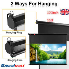 """Excelvan 100"""" 16:9 Manual Pull Down Projector Screen 16:9 HD Home Movie Theater"""