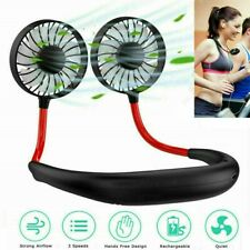 More details for lazy neck hanging dual mini cooling fan sport portable usb rechargeable fan