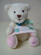 Hallmark LOVE YOU GRANDMA White Plush Bear Sign Pink Feet Heart NEW #1MAE4018