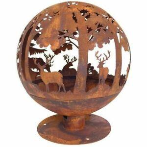 Oxidised Cast Iron Woodland Scene Fire Pit Globe