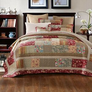 Tache Cotton Patchwork Tea Party Vintage Farmhouse Floral Bedding Quilt Set
