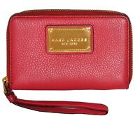 NWT Marc Jacobs New Q Slim Zip Around Leather Wristlet Wallet Clutch Bag Red