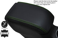 GREEN STITCHING LEATHER SKIN ARMREST LID COVER FITS FORD FIESTA MK9 2013-2016