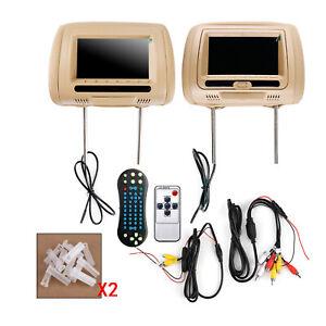"2x7"" New HD Digital Car Headrest Monitor USB TV IR SD HDMI Video Game DVD Player"