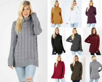S-XL Women's Cable Knit Pullover Sweater Turtle Neck Long Tunic Winter Jumper