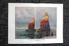 Memnon-Statuen Tempel von Medinet Habu Ägypten FARBDRUCK von 1908 Tempelanlage