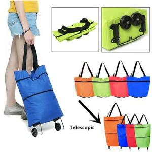 2 In 1 Foldable Shopping Cart With Wheels Oxford Fabric Multifunction x 1
