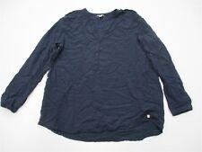 E SPIRIT #K754 Women's Size 12 Long Sleeve Casual V-Neck Henley Navy Blue Shirt