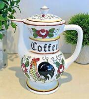 Vintage Rooster Rose Folk Art Ceramic Coffee Pot Server Acson 1950s Farm Chic