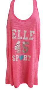 Elle Sports Tank Top In Glory Pink Melange UK Size M