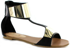 SIREN Bolly Black Leather & Gold Metallic Cuff Sandals