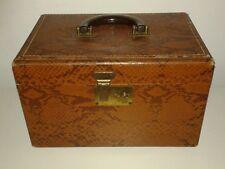 Vintage Vanity Train Case Tan Snakeskin Print Box Luggage Steampunk