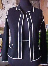 Womens Cardigan Knit Sweater Nine West SZ M Black & White 7 Button Front Collar