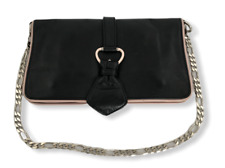 RARE D&G Dolce & Gabbana Black with Pink Trim Leather Convertible Chain Bag