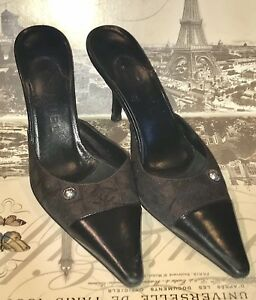 CHANEL Black Leather & Brown Logo Print Mules Heels Shoes Size 36 Excellent Cond