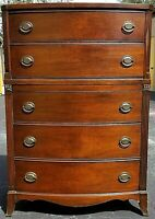 Antique J B Van Sciver Mahogany 5 Drawer Highboy Dresser