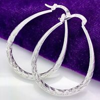Fashion Women's Jewelry 925 sterling Silver Round Hoop Dangle Stud Earrings TGS