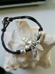 Simplicity Dragonfly Beaded Bracelet Silver Uno De 50 Style New leather