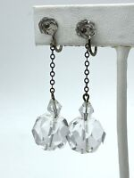 ART DECO ANTIQUE DANGLE DROP SCREW EARRINGS FACETED CRYSTAL CLEAR SILVER B2