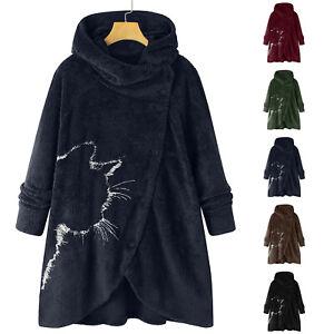 Women Button Plush Tops Hooded Loose Cardigan Wool Coat Winter Jacket Outwear US