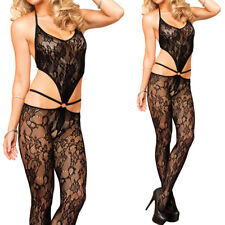 Black Sheer Floral Lace Bikini Top Crotchless Open Sides w/ Ring Bodystocking OS