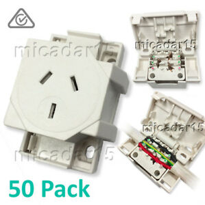 50 Pcs x QUICK CONNECT Surface Socket Plug Base Outlet Connector 3 Pin 10A