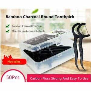 Fine Bamboo Charcoal Wire Floss Dental Floss Stick 50 Boxed Bow-shaped Toothpick