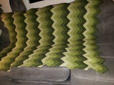 "Vintage green, olive, zigzag Stripe Crochet Throw blanket about 54""x44"""