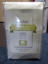 No-Iron 400 Thread Count Wrinkle-Free Cotton 2 Standard/Queen Ivory Pillowcases