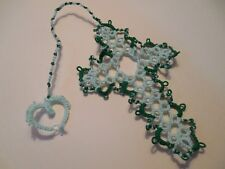 Dove Country Tatted Bookmark Cross Heart Mint & Dk Green New Lacey Gift Tatting