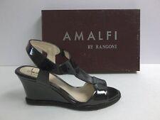 Amalfi by Rangoni Size 7.5 M Lodi Black Leather Wedge Sandals New Womens Shoes