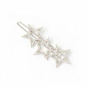 New Silver 3 Star Crystal Diamante Grip Slide Hair Accessories 5.5cm UK SELLER