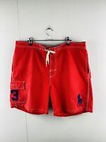 Polo Ralph Lauren Men's Casual Elastic Waist Board Shorts Pockets Size XL Red