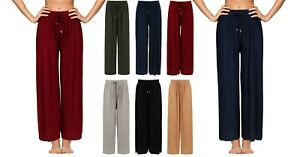 Ladies Womens Trousers Lounge Culottes Wide Leg Harem Pleated Size Spring Summer