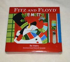 "Fitz & Floyd ""Be Merry"" Snowman Snack Plate with Spreader Set. Nib"