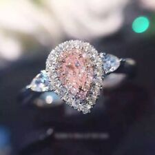 Certified 3.00ct Pear Pink Sapphire Diamond Engagement Ring Real 14K White Gold