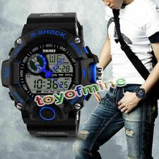 Mens Watches Diver Day Date Alarm Quartz Digital Analog Sports Wrist Watch Blue