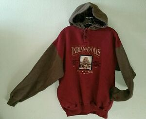 Embroidered INDIANAPOLIS 500 Racing Size M Pullover Hoodie Sweatshirt Pockets
