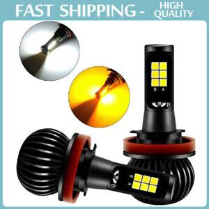 2X H11 H8 Dual Color Switchback White Amber LED COB Fog Light Bulbs 160W 2600LM