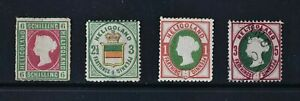 HELIGOLAND, QV, a collection of 4 stamps for identification, MM, MNG & used.