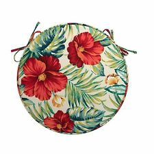 """Indoor Outdoor 16"""" Round Bistro Chair SEAT CUSHION PAD Green Red Tropical Floral"""