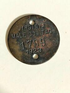 1920s Richmond Virginia Antique Male Dog License Tag 1923 Tax Token
