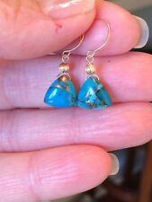 14K Mojave Blue Turquoise Triangle Shape Briolette Earrings Petite PROMO OFFER