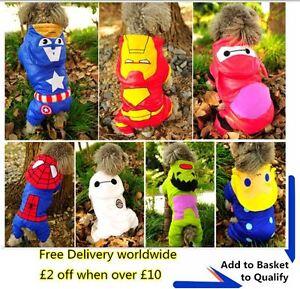 Superhero superman Hulk Thor Hoodie Jacket Dog Costumes Puppy Clothes
