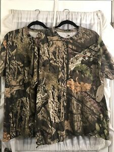 2 New With Tag MOSSY OAK Camo XL Short Sleeve T shirts Camouflage Hunting Deer